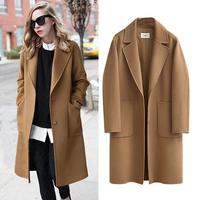 Elegant Streetwear Winter Long Woolen Blend Coat Women Casual Loose Warm Women Wool Coat Cardigan Autumn Abrigos Mujer Invierno