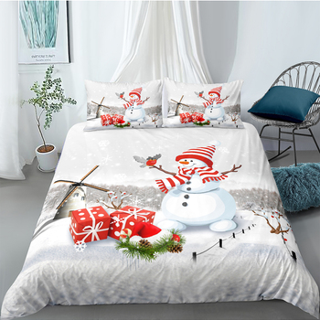 Christmas Snowman Bedding Set For Kids Creative Fashionable Duvet Cover Cute King Queen Twin Full Single Double 3D Bed Set