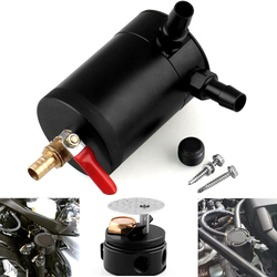 2 Port Oil Catch Can Tank Fuel Tank Racing Baffled With Drain Valve Air Oil Separator Universal Black Anodized