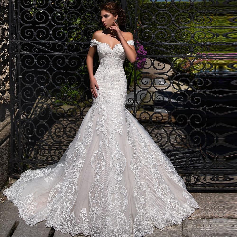 Off Shoulder Mermaid Wedding Dress 2020 Lace Up Back Appliqued Tulle Wedding Gowns Bride Dress Lace Wedding Dress MariageWedding Dresses   -
