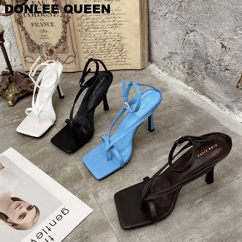 2020 New Spring Summer Square Toe Slingback Sandals Narrow Band Gladiator Sandals Shoes Women High Heels Pumps Party Dress Shoes