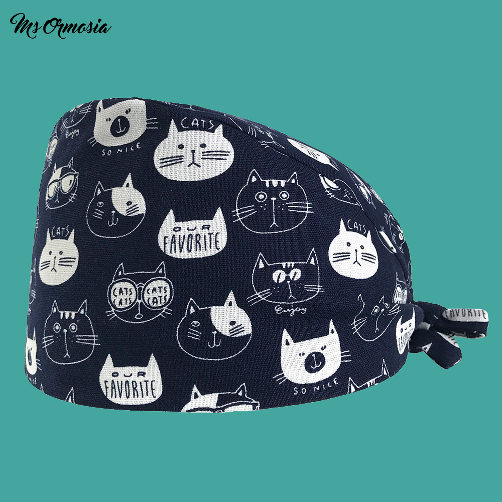 High Quality Cute Cat Printing Men And Women 100% Cotton Hospital Nurse Cap Home Care Cap Strap Nurse Cap Hospital Surgery Hat