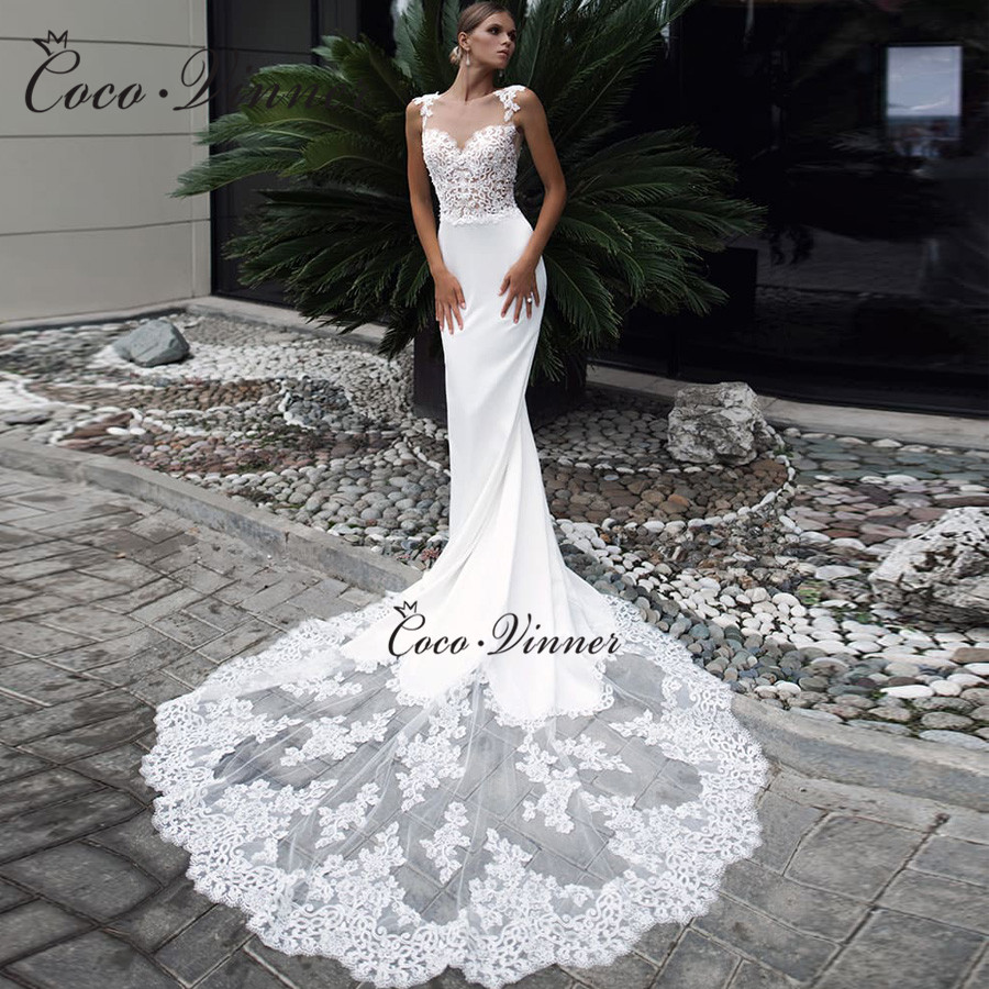 Embroidered Lace On Net Special Straps Soft Satin Mermaid Wedding Dresses Court Train Pure White Vestido De Novia  W0525