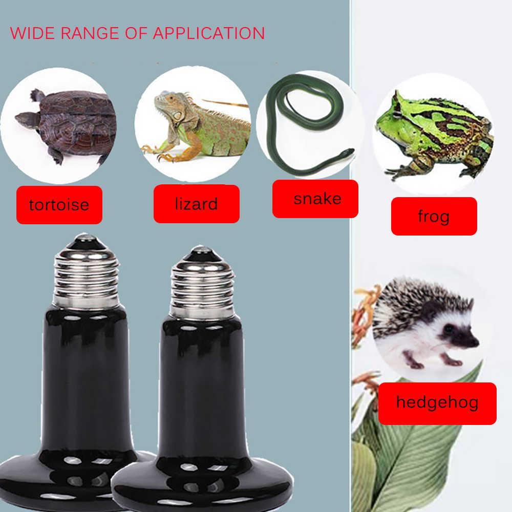 25/75/100/200W E27 infrarouge lointain en céramique lampe de chauffage pour animaux de compagnie lézard tortue araignée Reptiles boîte réchauffeur plus chaud ampoule de chaleur couveuse