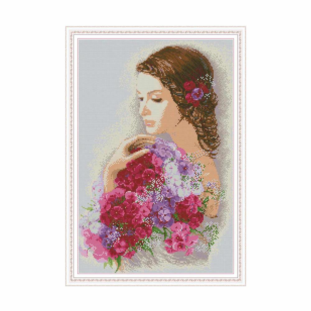 Piękno i kwiaty krzyż zestaw do szycia aida 14ct 11ct count wydruk płótna ściegi robótki haft DIY handmade