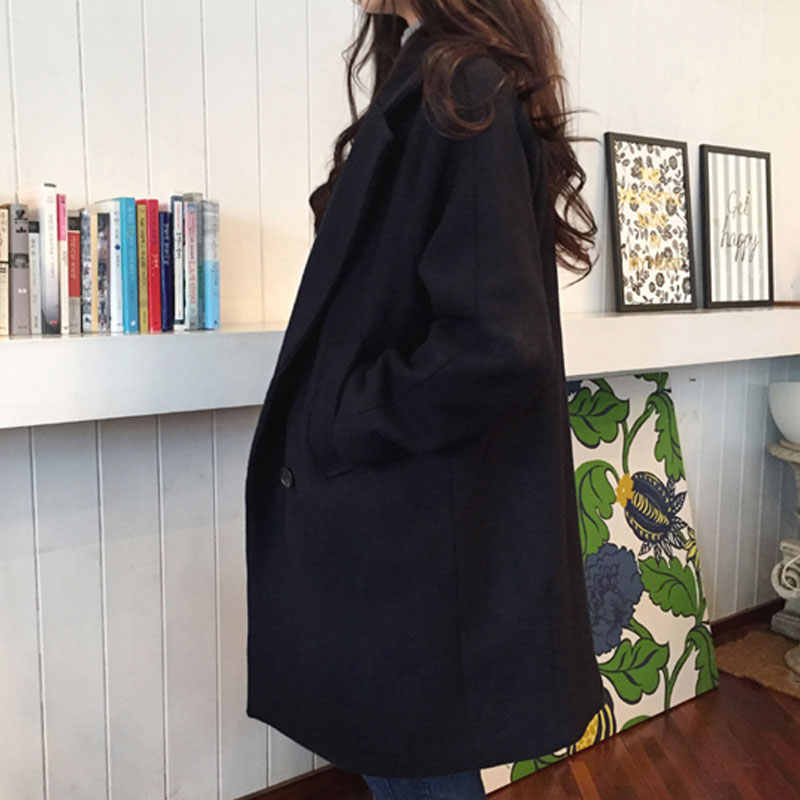 Laamei Nieuwe Dunne Wol Blend Coat Vrouwen Lange Mouw Turn-Down Kraag Uitloper Jacket Casual Herfst Winter Overjas Koreaanse stijl