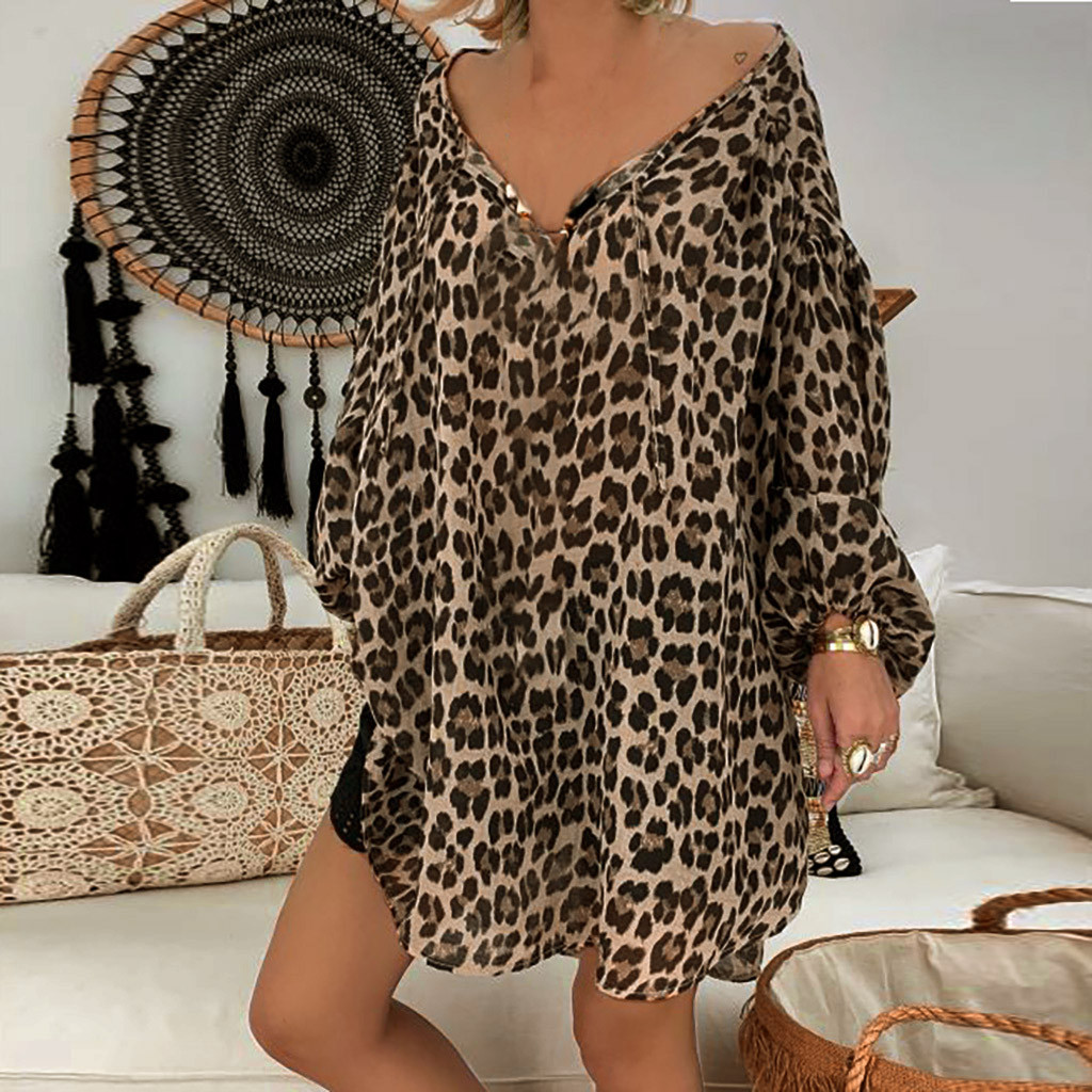 5xl Plus Size Leopard Women's Tunic Print Long Sleeve V neck Blouse Tops Casual Loose Shirts Women Elegant Vintage Chemise Femme