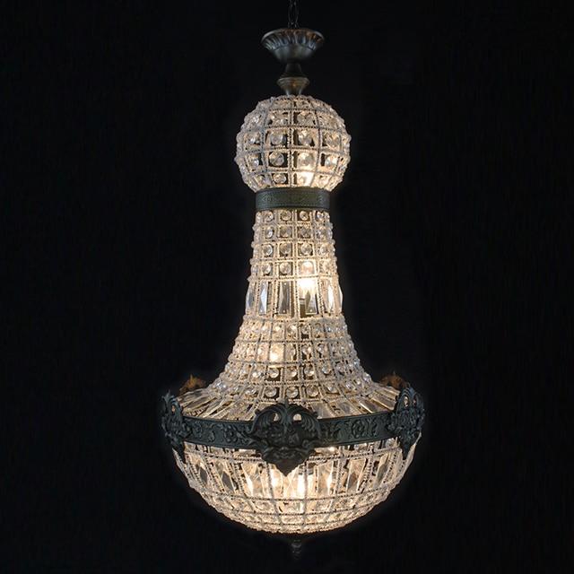 Retro Vintage Grote Ronde Franse Empire Stijl Led E14 Kristallen Kroonluchter Moderne 6 Lights Lustre Lamp Voor Woonkamer Hotel lobby