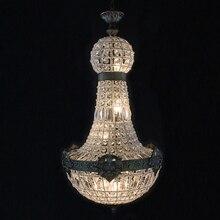 Retro Vintage büyük yuvarlak fransız İmparatorluğu tarzı led E14 kristal avize modern 6 ışıkları parlaklık lambası oturma odası otel için lobi