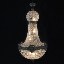 Retro Vintage duże okrągłe imperium francuskie styl led E14 kryształowy żyrandol nowoczesny 6 światła lustre lampa do salonu lobby hotelu