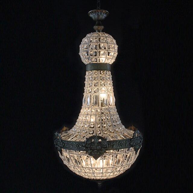 Ретро Винтаж Большой Круглый Французский Стиль Ампир led E14 хрустальная люстра современный 6 огней блеск лампа для гостиной лобби отеля