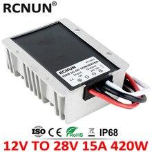 Alta qualidade 12 volts a 28 volts 15a dc dc conversor passo acima 12 v a 28 v 420 w impulso módulo impermeável ce rohs para carros