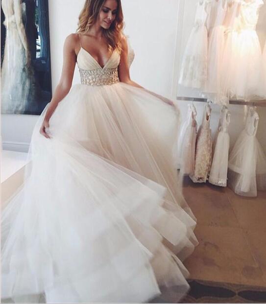 Simple Beach Wedding Dresses With Sash Beads Sequins Deep V Neck Spaghetti Straps Bridal Dress Tulle Sexy Vestido De Noiva
