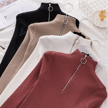 Zipper Women's Turtleneck Pullovers