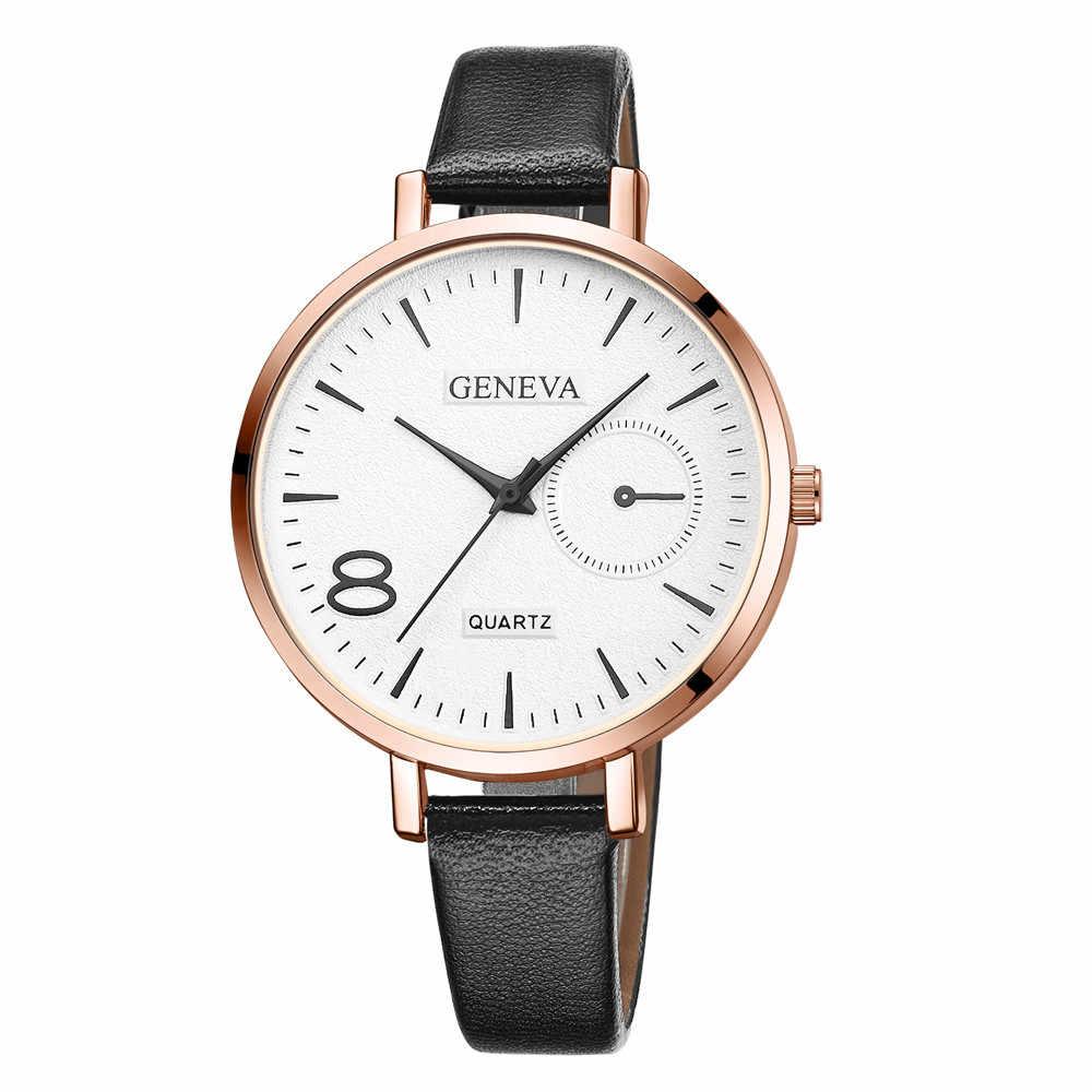 יוקרה אופנה נשים אלגנטי שעונים נשים עור מקרית שעון יוקרה אנלוגי קוורץ קריסטל שעוני יד Relogio Feminino # W3