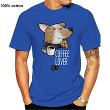 Футболка Coffee Lover 100% хлопковые мужские футболки в джентльменском стиле для питомца собаки футболки кавай с текстильной отделкой из хлопка; Ч...