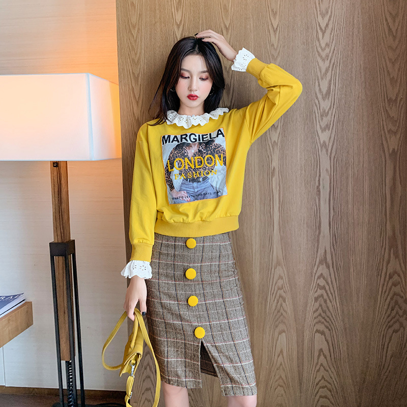 Fashion Casual WOMEN'S Suit Autumn Printed Hoodie Women's 2019 Korean-style WOMEN'S Wear Plaid Short Skirt A Generation Of Fat 2