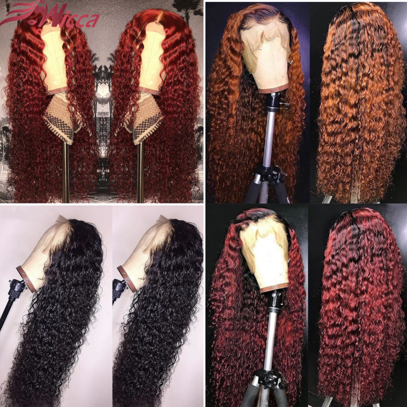 Wicca Curly Human Hair Wigs With Baby Hair Bleached Knots Brazilian Remy Lace Frontal Wigs Pre-Plucked 130% 150% 180% Density