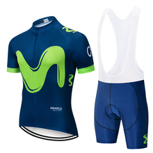 цена на cycling jersey 2020 Movistar Team short-sleeved cycling Jersey suit bib roa ciclismo bicycle suit MTB  uniform men's clothing