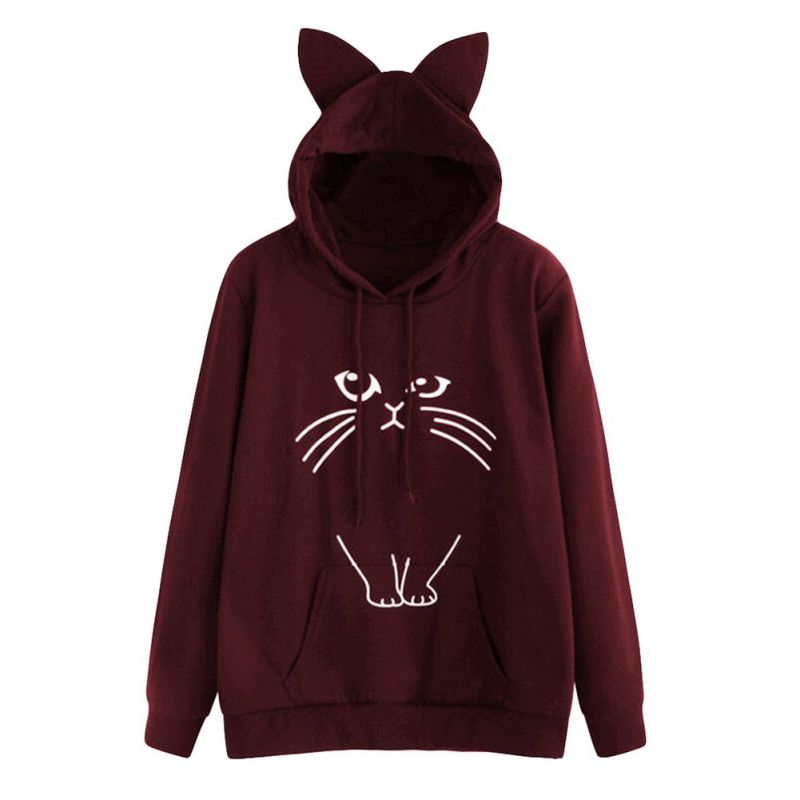 Drawstring Hooded Cartoon Print Pullover Outwear Cat Ear S-XXLPrinted Women\'s Casual Long Sleeve Hoodie Sweatshirt