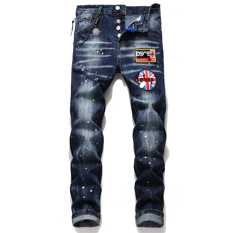 New Men Jeans Stretch Printed Skinny Embroidery  Jeans Men Paint Male Trousers Clothes Streetwear Spring Autumn Winter Hip Hop