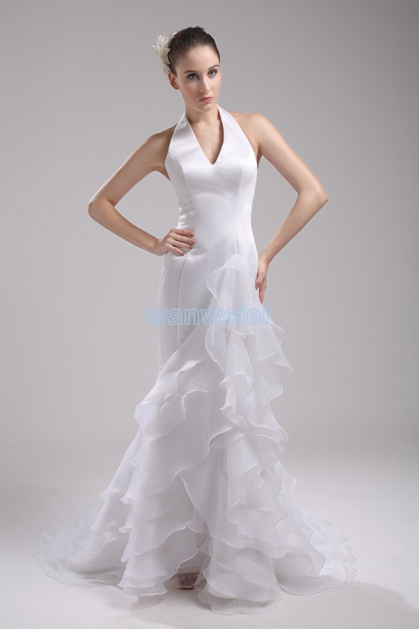 Free Shipping Formal Gowns 2017 Strapless Bandage Dress Vestidos Dress White Debutante Gowns Mermaid Long Halter Wedding Dresses