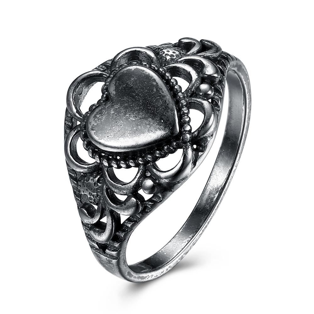 Size 7-9 Vintage Women's Hollow Flower side Heart Rings High Quality Brand Dance Date Shopping Annual Jewelry(China)