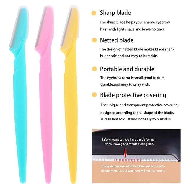36Pcs Eyebrow Trimmer Women Face Razor Leg Body Epilator Brow Knife Facial Remover Shaver Makeup Facial Hair Removal Blades Kit 5