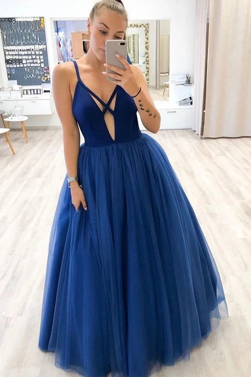 A-Line Prom Dresses Long 2020 V-Neck вечерние пла suknie wieczoro Tulle Formal Gowns Evening Dresses Robe De Soiree