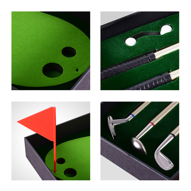 Golf Pen Set Desktop Goft Gift Mini Green Driving Range with Metal Golf Club Pens Balls and Flag 5