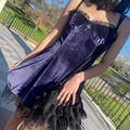 Goth Cross Sexy Purple Dress Vintage Velvet A Line Lolita Dress Aesthetic Gothic High Waist Ladies Club Party Dresses