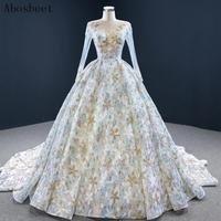DD JYOY Shining Sequined Ball Gown Wedding Dress Long Sleeve 2020 New Fashion Sheer Neck Long Train Lace Up Back Wedding Gown