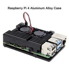 Raspberry Pi 4 B Case met Dual Fan, armor Aluminium Passieve Koeling Case Compatibel met Raspberry Pi 4 Model B Alleen