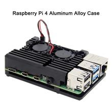 Raspberry Pi 4 B Custodia con Doppia Ventola, armatura Caso In Lega di Alluminio di Raffreddamento Passivo Compatibile con Raspberry Pi 4 Modello B Solo
