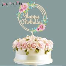 Flower Green Leaf Happy Birthday Cake Topper Cupcake Decorations Birthday Baking Decoration Baby Shower Wedding Decorations