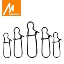 메레디스 50pcs 스테인레스 스틸 낚시 커넥터 빠른 클립 잠금 스냅 회전 솔리드 링 안전 스냅 낚시 후크 도구 스냅