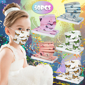masque chirurgical jetable 50 pcs Children's Cartoon 5 Mixed butterfly Masks Disposable printed mask 3ply Cover masque rose 40%