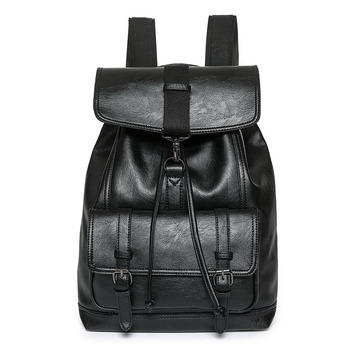 Luxury Men Leather Backpack High Quality Drawstring PU Backpacks Causal Travel Rucksack Laptop Bag Pack Male School Bags B228
