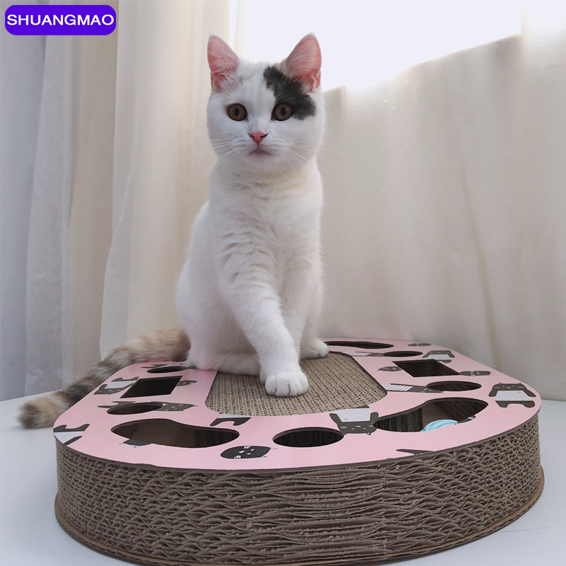 Hot Sell Cat Toys Pets Scratch Board Scratching Kitten Corrugated Paper Pad Cats Nail Scraper Mat Mattress Gift Organic Catnip image