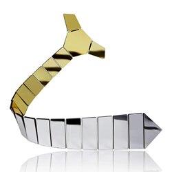 Reversible Spiegel Krawatte Eine seite Gold n Eine Seite Silber Classy Gestreiften Krawatten Liebhaber Geschenk Acryl Glänzende Krawatten Schlank Krawatte clip Set