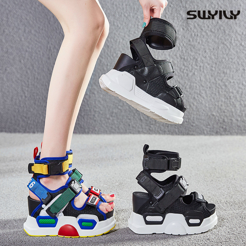 SWYIVY Chunky Sandals Women Fashion Summer Shoes Bucket Sandals Platform 2019 New Female High Heels Colorful Beach Sandals Shoes