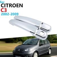 Luxuoso chrome lidar com capa guarnição conjunto para citroen c3 mk1 2002 accessories 2009 acessórios do carro adesivos 2008 2007 2006 2005 2004 2003|Adesivos para carro| |  -