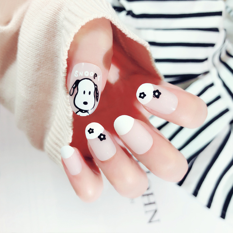 Nail Stickers Fake Nails Patch Short South Korea Girly Series Cute Puppy Nail Tip Finished Product Fake Nails Finished Product S