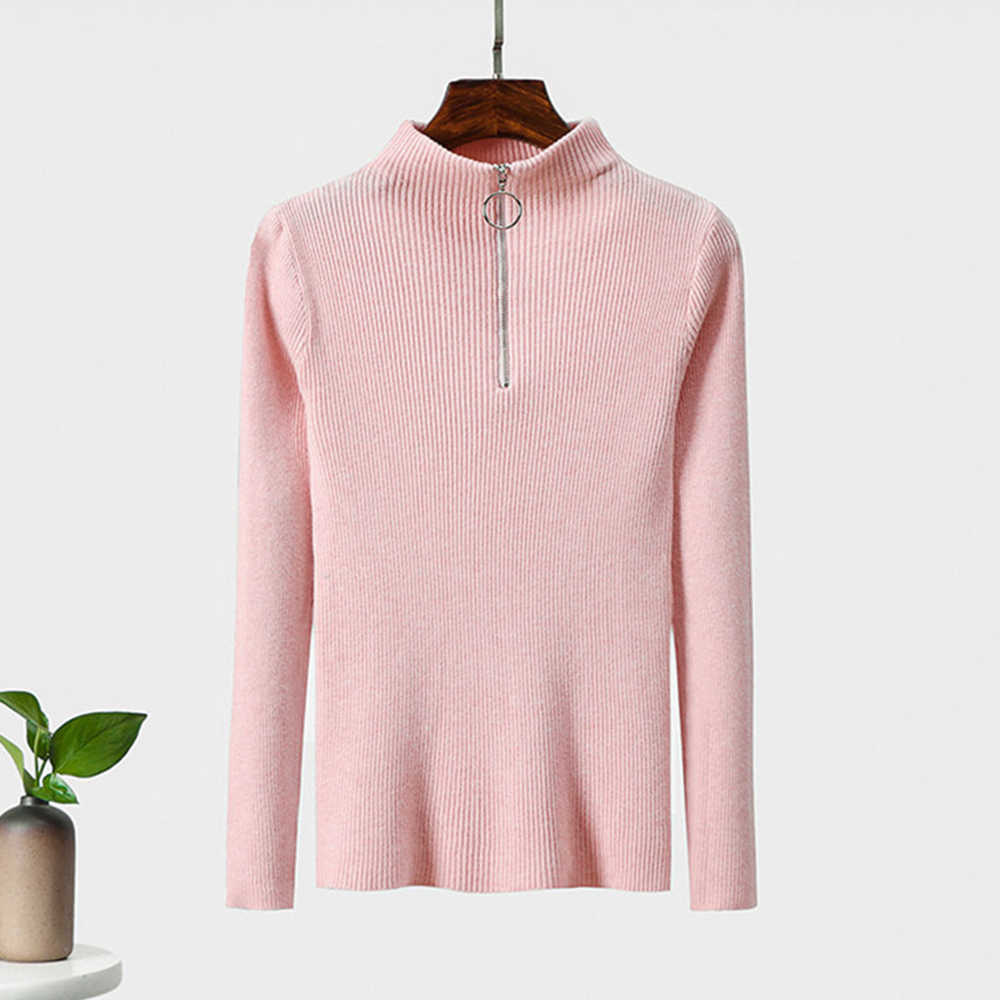 여성 캐주얼 지퍼 스웨터 터틀넥 솔리드 컬러 봄 가을 니트 풀오버 긴 소매 세련된 소프트 점퍼 탑스 2019 신규