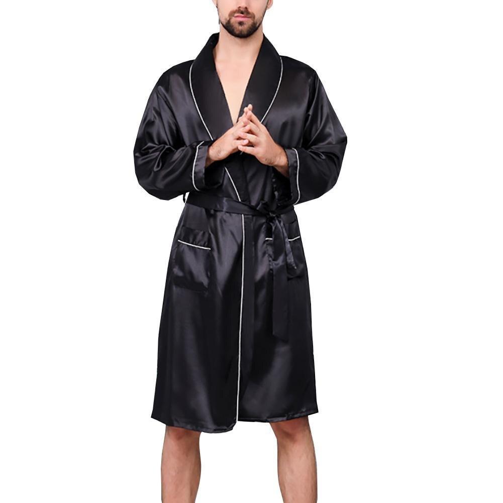 Robes Men Summer Imitation Silk with Pockets Waist Belt Bath Robe Home Gown Sleepwear Bathrobe Silk Gown Fashion clothes 2021
