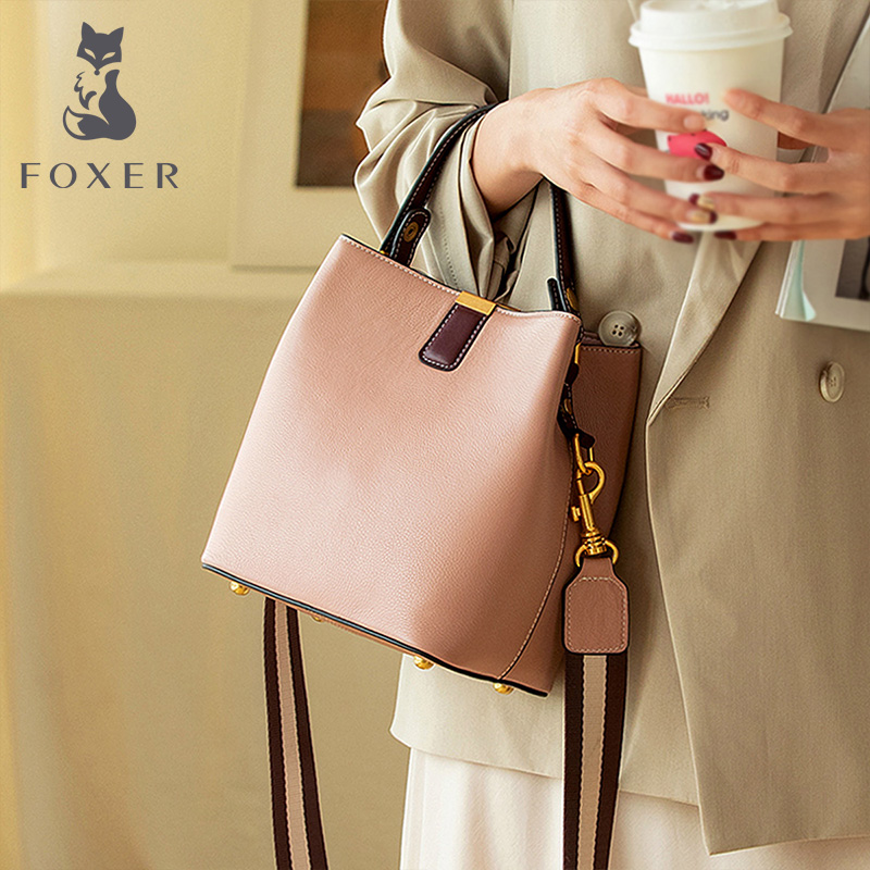 FOXER Cowhide Bucket Bag Lady Messenger Bag Round Women High Quality Stylish Handbag & Totes Elegant Female Bag Large Capacity