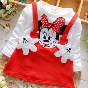 New Summer Cotton Baby Girls Cartoon Long Sleeves Dress Children's Clothing Kids Princess Dresses Casual Clothes 0-2Years