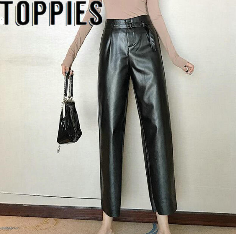 High Waist Women Faux Leather Pants Winter Pu Flare Pants Loose Causal Leather Trousers Black Brown