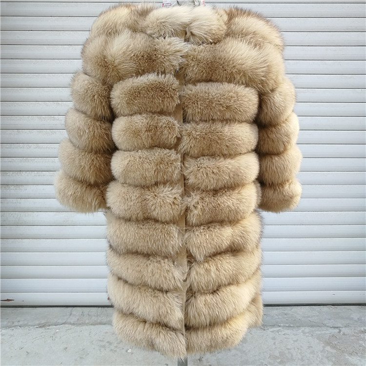 100% Natural Real Fox Fur Coat Women Winter Genuine Vest Waistcoat Thick Warm Long Jacket With Sleeve Outwear Overcoat plus size 53