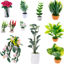 Mini arbre en Pot pour plante verte en Pot maison de poupée meubles décor à la maison Simulation plantes en Pot 1:12 maison de poupée Miniature